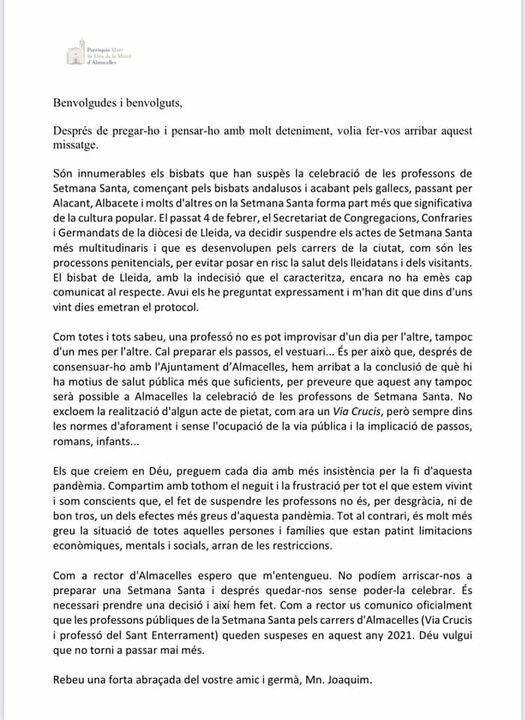 La parròquia d'Almacelles suspèn les processons de Setmana Santa per la situació sanitària