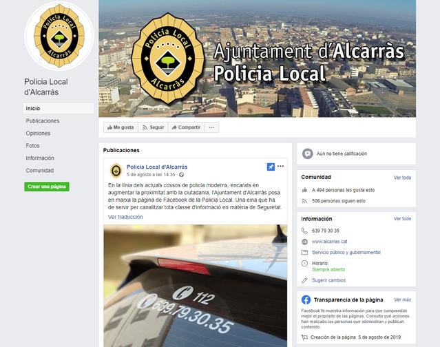 La Policia Local d'Alcarràs estrena pàgina web