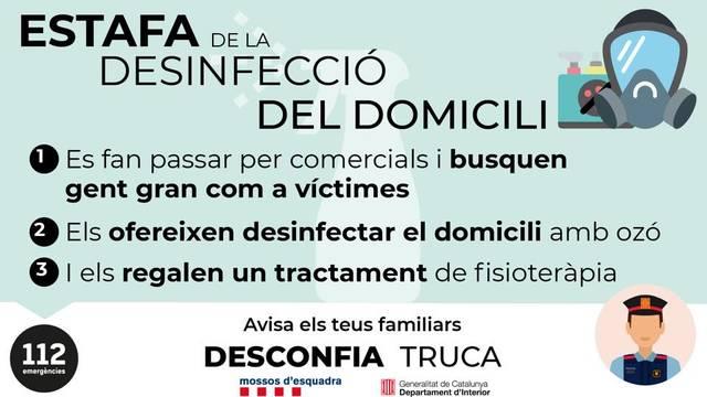 La Policia Local d'Almacelles alerta d'una estafa a gent gran amb una suposada desinfecció del domicili