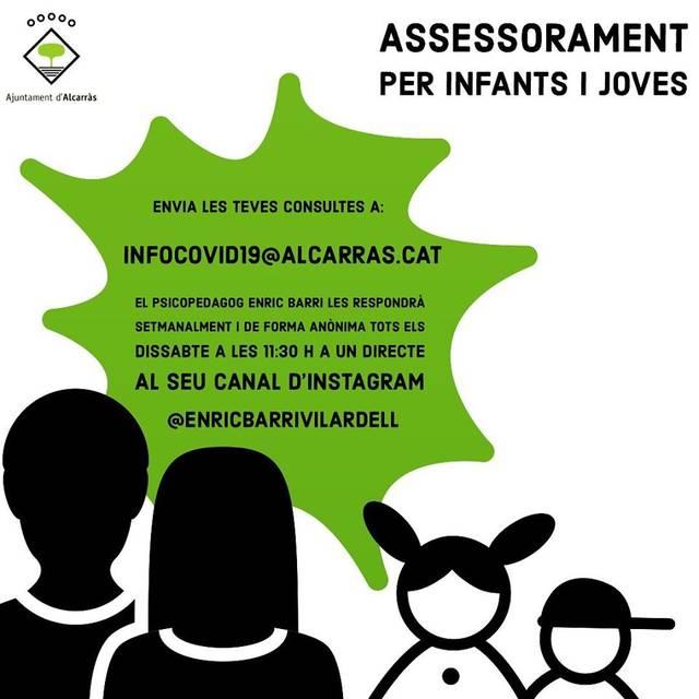 L'Ajuntament d'Alcarràs activa un servei d'assessorament psicopedagògic per a infants i joves arrel del confinament