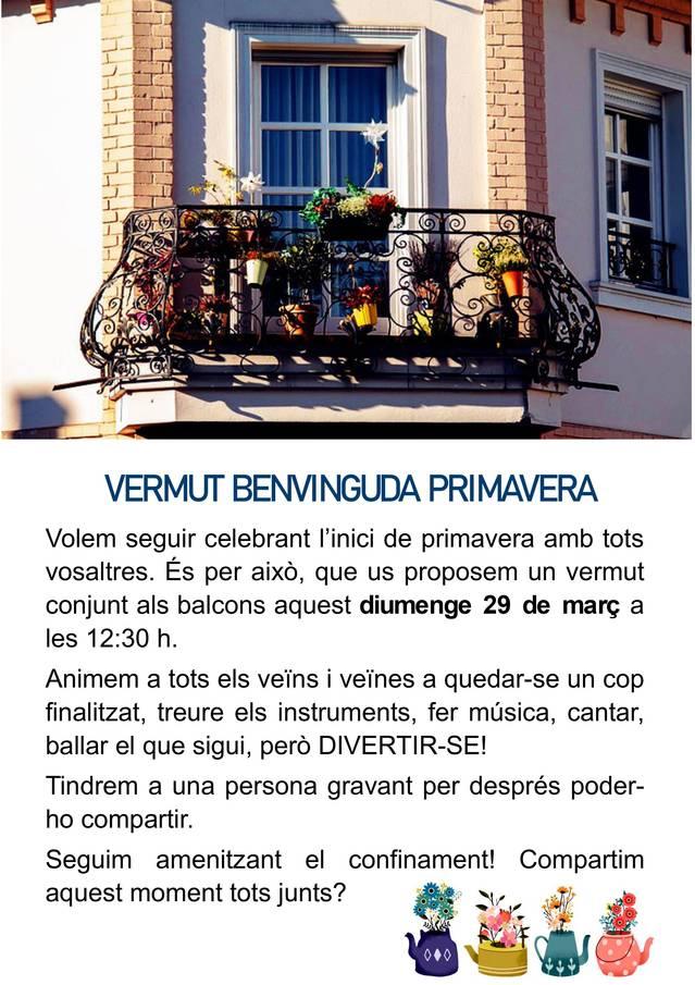 L'Ajuntament d'Alfarràs convida a tothom a participar en el Vermut Benvinguda Primavera