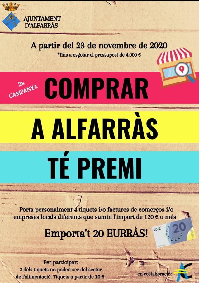 L'Ajuntament d'Alfarràs destina 4.000 euros a potenciar el comerç local