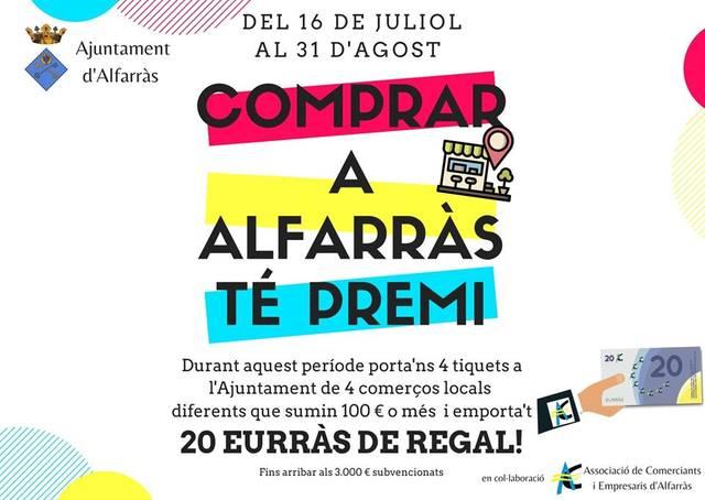 L'Ajuntament d'Alfarràs regala 20 euros per cada 100 que se'n gasti comprant als establiments del poble