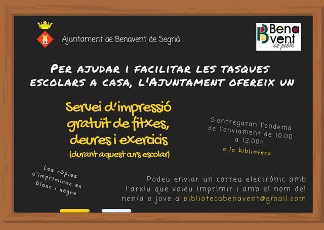 L'Ajuntament de Benavent imprimirà gratis els deures i exercicis escolars que els nens i nenes del poble rebin online