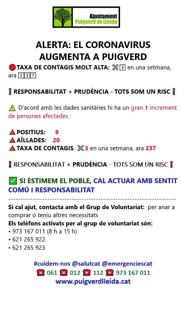 L'Ajuntament de Puigverd de Lleida alerta de l'increment de casos de la Covid 19 al poble