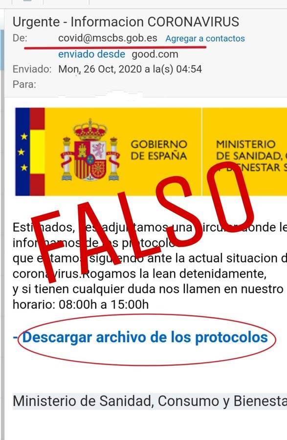 L'Ajuntament de Puigverd de Lleida alerta d'un frau amb correus falsos del Ministerio de Sanidad sobre la Covid 19