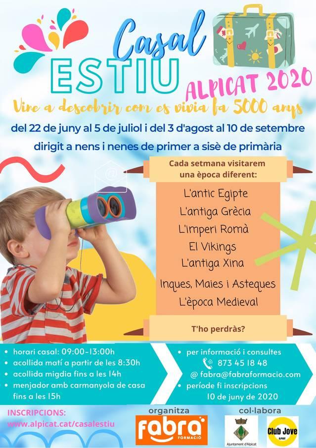 L'Ajuntament i el Club Jove Alpicat ofereixen un casal d'estiu pioner adreçat a nens i nenes de 1r a 6è de Primària