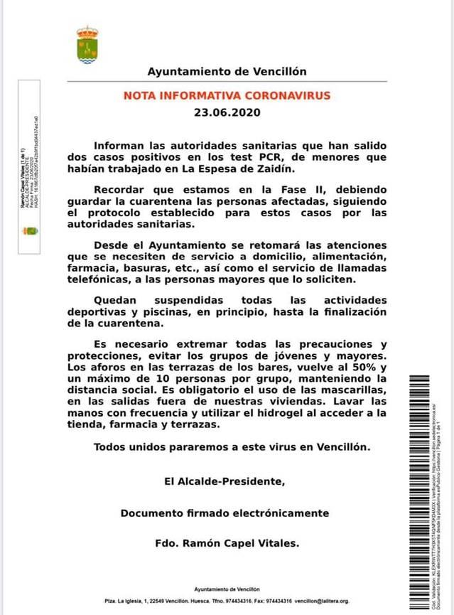 L'alcalde d'Almacelles demana que s'extremi la prevenció per evitar nous rebrots de Covid-19 amb la revetlla de Sant Joan