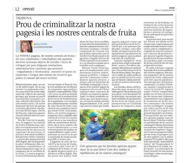 L'alcaldessa d'Aitona exigeix no criminalitzar els pagesos ni les centrals de fruita