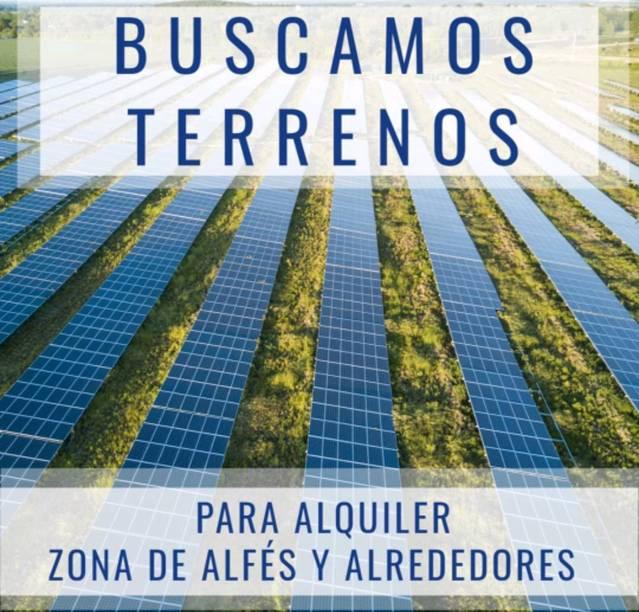 Lloguen terrenys rústics per construir un parc solar entre Alfés, Sunyer, Els Alamús, Montoliu, Albatàrrec, Artesa de Lleida, Sudanell i Puigverd de Lleida