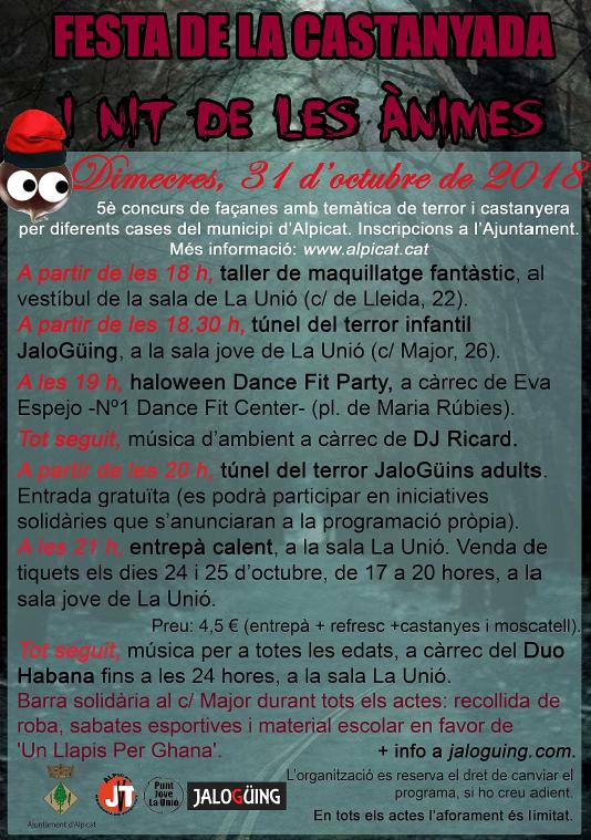 Maquillatge, concurs de façanes, túnel del terror, Dance Fit Party, sopar i música a la Festa de la Castanyada i Nit de les Ànimes