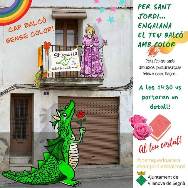 Sant Jordi a les façanes i balcons als pobles i ciutats de Catalunya