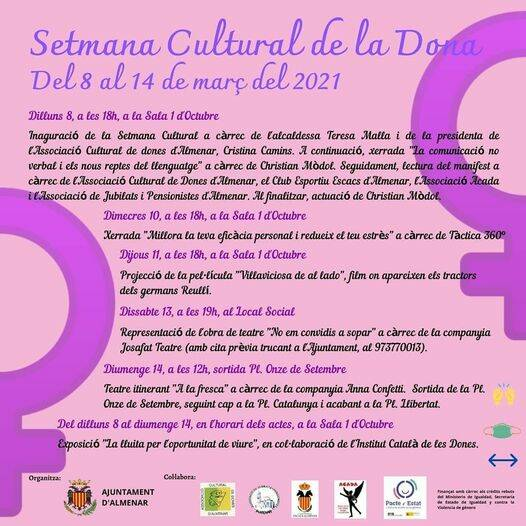 Setmana Cultural de la Dona a Almenar del 8 al 14 de març