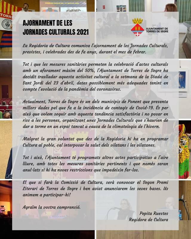 Torres de Segre ajorna fins l'abril les Jornades Culturals a causa de la pandèmia