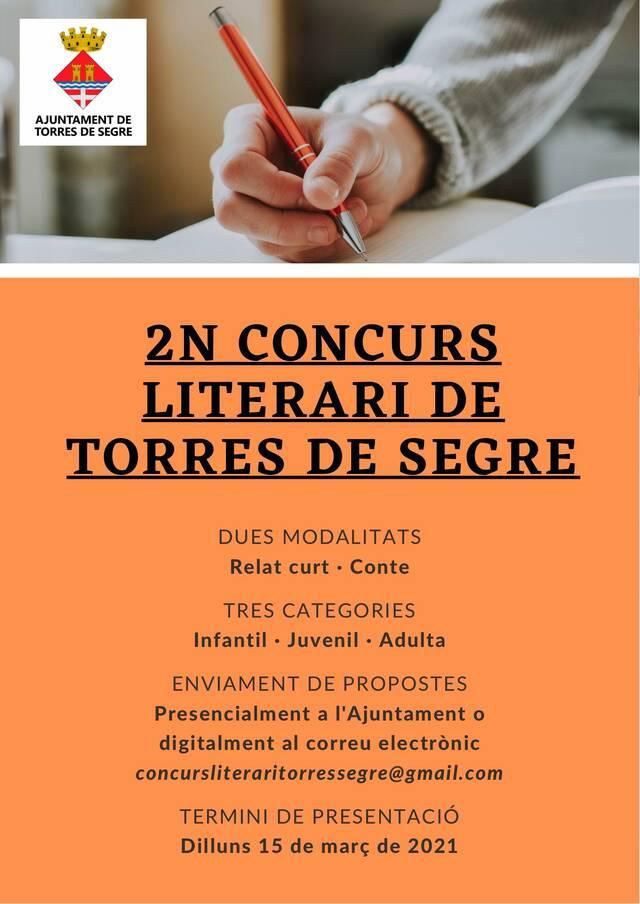 Torres de Segre convoca la 2a edició del seu Concurs Literari