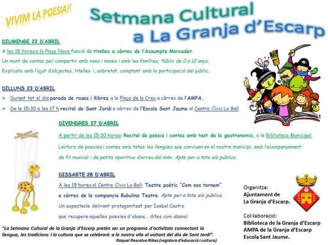 Tot a punt per l'inici de la Setmana Cultural a La Granja d'Escarp
