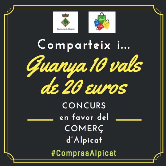 Vals de 20 euros a Alpicat per gastar en el comerç local