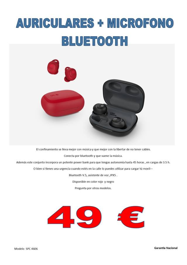Auriculares Bluetooth + microfono+power bank