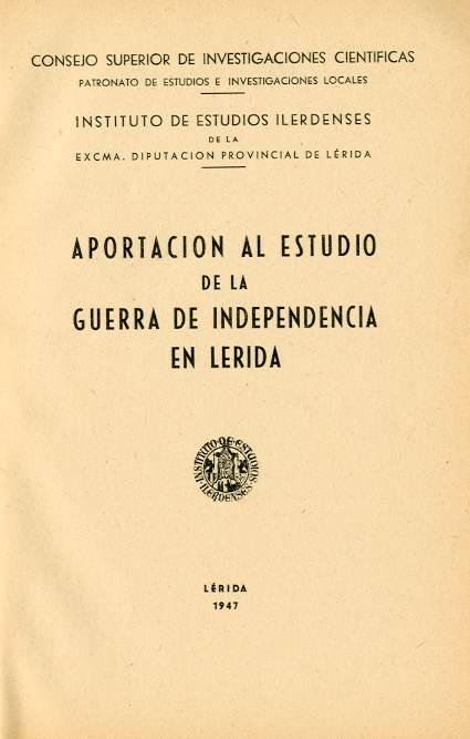 Aportación al estudio de la Guerra de la Independencia en Lérida