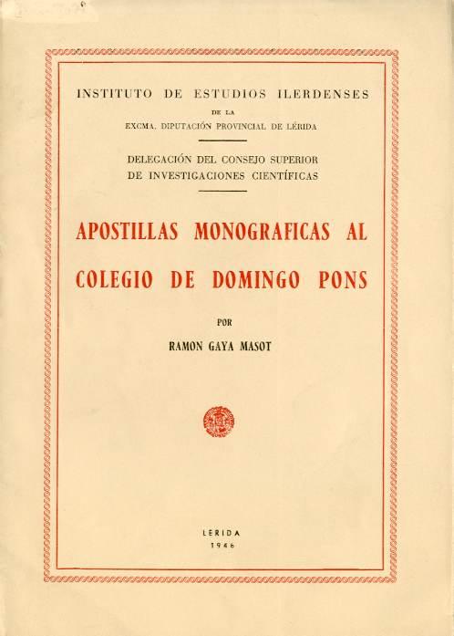 Apostillas monográficas al Colegio de Domingo Pons