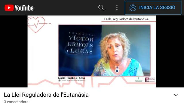 L'IEI posa damunt la taula la nova llei sobre l'eutanàsia en un col·loqui virtual